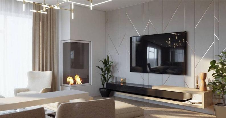 Интерьер светлой гостиной с камином. Анастасия Корябкина