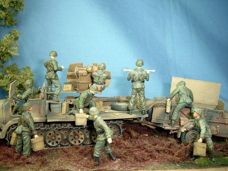 Besatzung für 3,7cm Flak auf Sd.Kfz. 6 oder Sd.Kfz. 7 Figuren Flakbedienung Elitetruppe Deutsche Wehrmacht