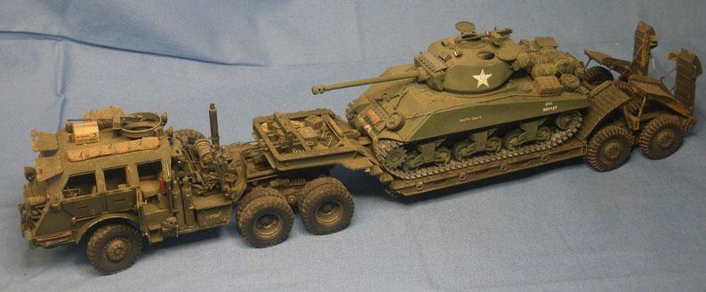 Panzertransporter M25 M26 Dragon Wagon mit Sherman M4 A3 der US Armee Weltkrieg worldwar