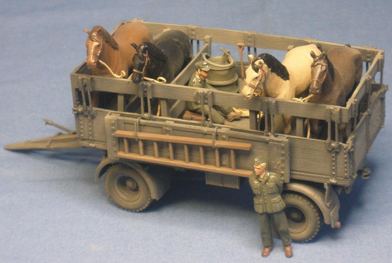 8t Einheitsanhänger als Pferdetransporter Kavallerie Gebirgsjäger Deutsche Wehrmacht