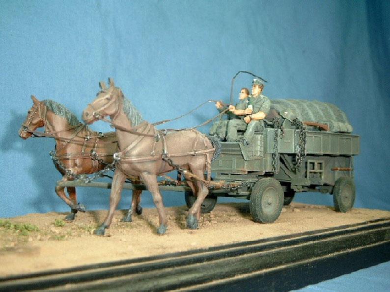 Stahlfeldwagen HF 7 im Pferdezug Deutsche Wehrmacht