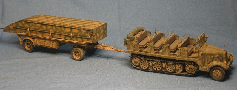 Sd.Kfz. 6  5t Zugmaschine Pionierausführung mit Pontonwagen PF 11 B-Brückengerät Brückenkolonne B Brückenpioniere Deutsche Wehrmacht