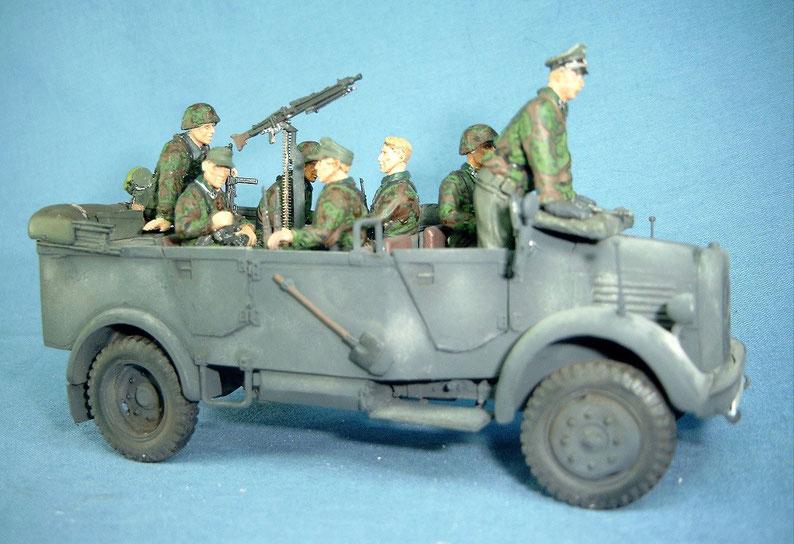 Gefechtsfahrzeug Besatzung Schwerer Einheits-PKW Elitetruppe Figuren Deutsche Wehrmacht