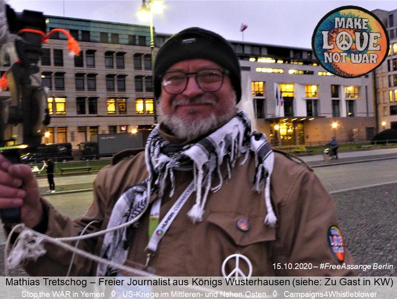 Mathias Tretschog - Freier Journalist und Gründer von Campaigs4Whistleblower, US-Kriege im Mittleren- und Nahen Osten sowie Stop the WAR in Yemen