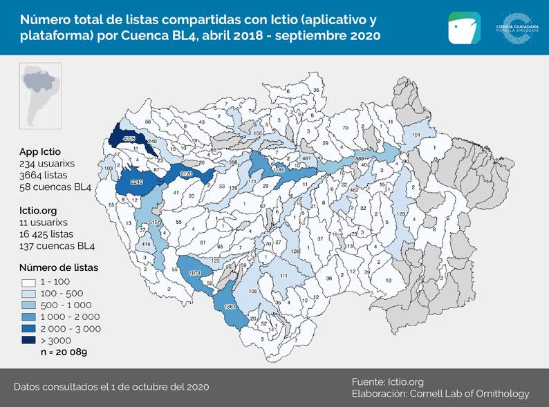 Mapa 1 - Listas y observaciones por cuencas