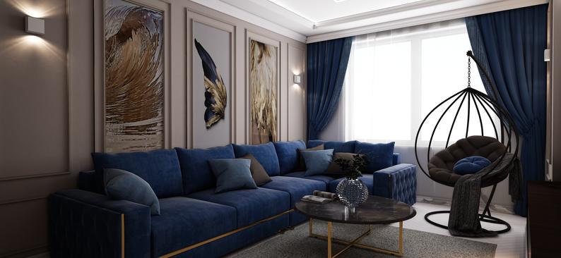 Гостиная с подвесным креслом и камином. Проект Анастасии Корябкиной