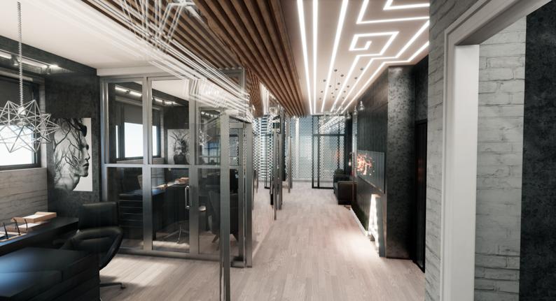 Современный офис в стиле лофт от дизайнера Анастасии Корябкиной