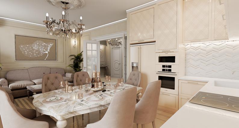 Кухня-гостиная с мебелью Эстетика. Картина Эстетика в интерьере. Дизайнер Корябкина Анастасия