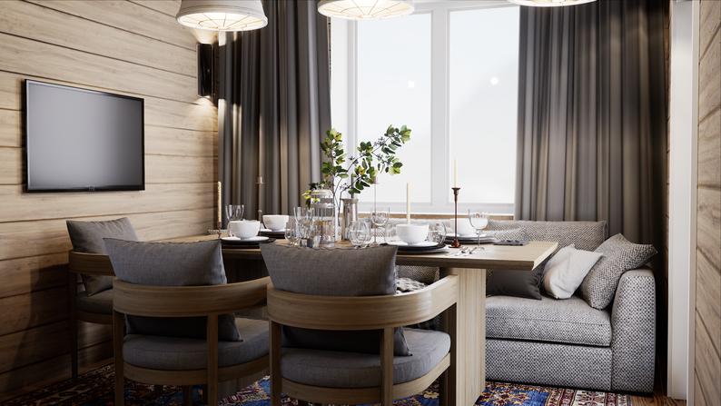 Дизайн интерьера гостевого дома с баней. Гостиная