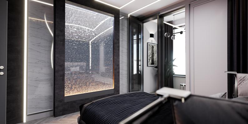 Дизайн черной спальни для холостяка. Пузырьковая панель в спальне. Проект Анастасии Корябкинной