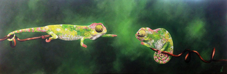 """""""Catch me if you can"""", 2018, acrylic on canvas, 50x150"""