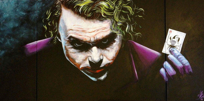 """Joker Poker Face"", 2012, Acryl auf Leinwand, 160x80, 3-teilig"