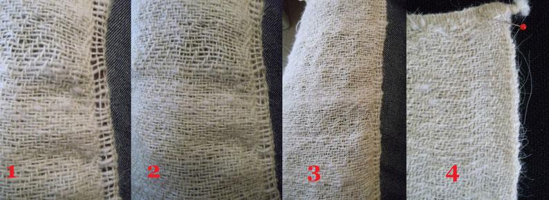 1 Schlauch mit technischer Schnur  2 Schlauch ohne technische Schnur  3 geschobenes Gewebe  4 Gewebe nach der Wäsche