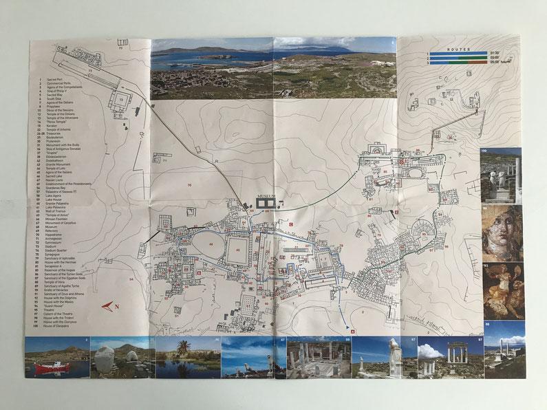 Travel Guide Delos map sights UNESCO island ofpenguinsandelephants of penguins & elephants Greece