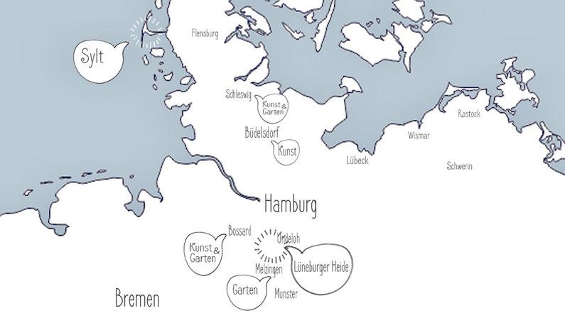 Landkarte Norddeutschland mit persönlichen Reisetipps
