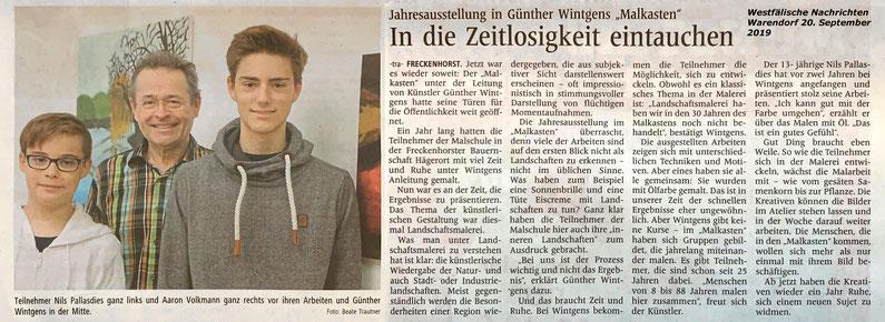 Nils Pallasdies und Aaron Volkmann malen und zeichnen im  Künstleratelier Malkasten Warendorf in Freckenhorst