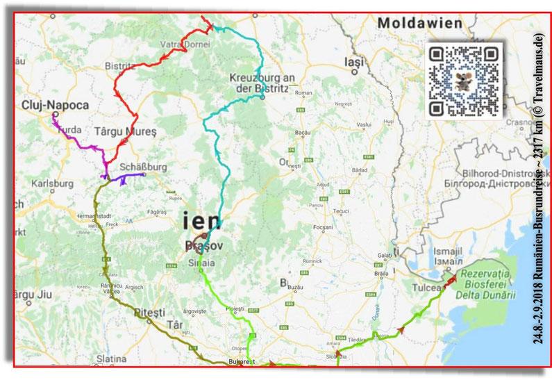 Busrundreise Rumänien 24.8-2.9.2018 (2317 km)