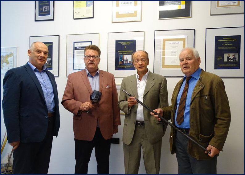 Von links : Leonhard F. PATEROK - Technischer Leiter, Hans-Joachim FUCHTEL - Parlamentarischer Staatssekretär in der Bundesregierung in Berlin, Joachim ZILLLINGER - Ier stv. Bürgermeister in Schömberg, Lienhard J. Dr. Paterok - Geschäftsführer