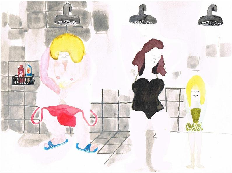 duschen  24 * 18 cm  aquarell/tusche