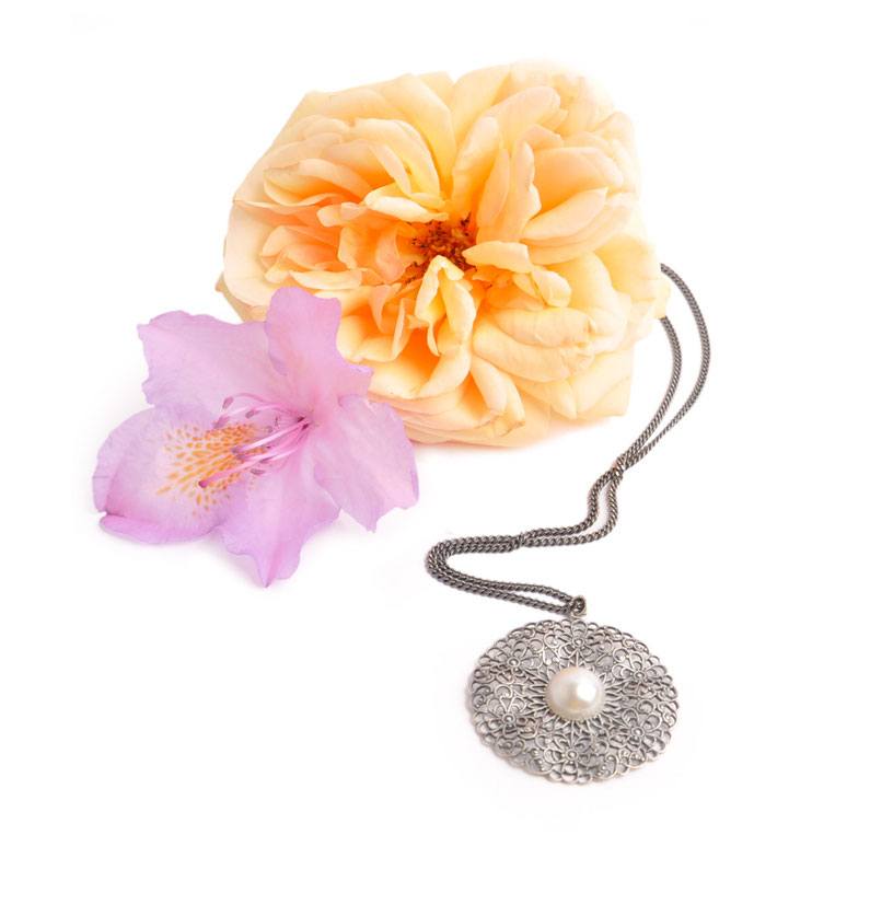 Trachtenschmuck  Trachtenkette messing mit Perle