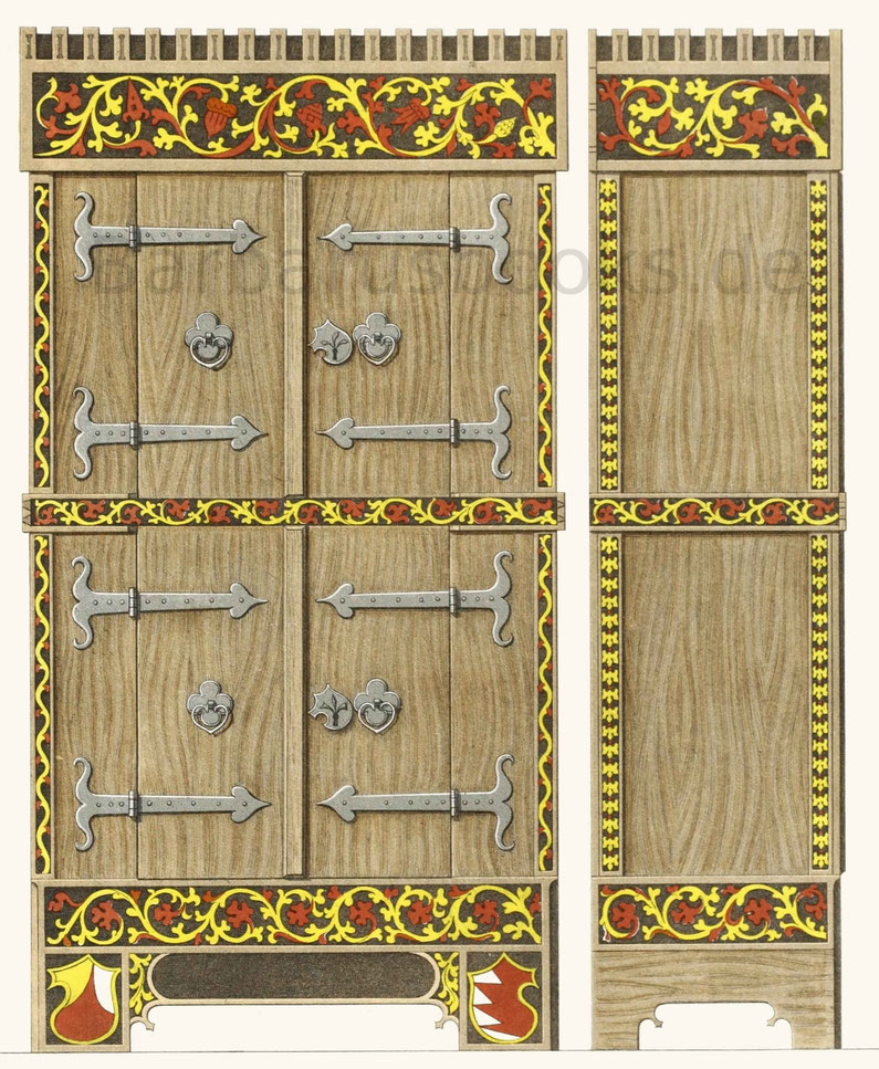 Schrein aus Lindenholz, aus der zweiten Hälfte des 15. Jahrhunderts.