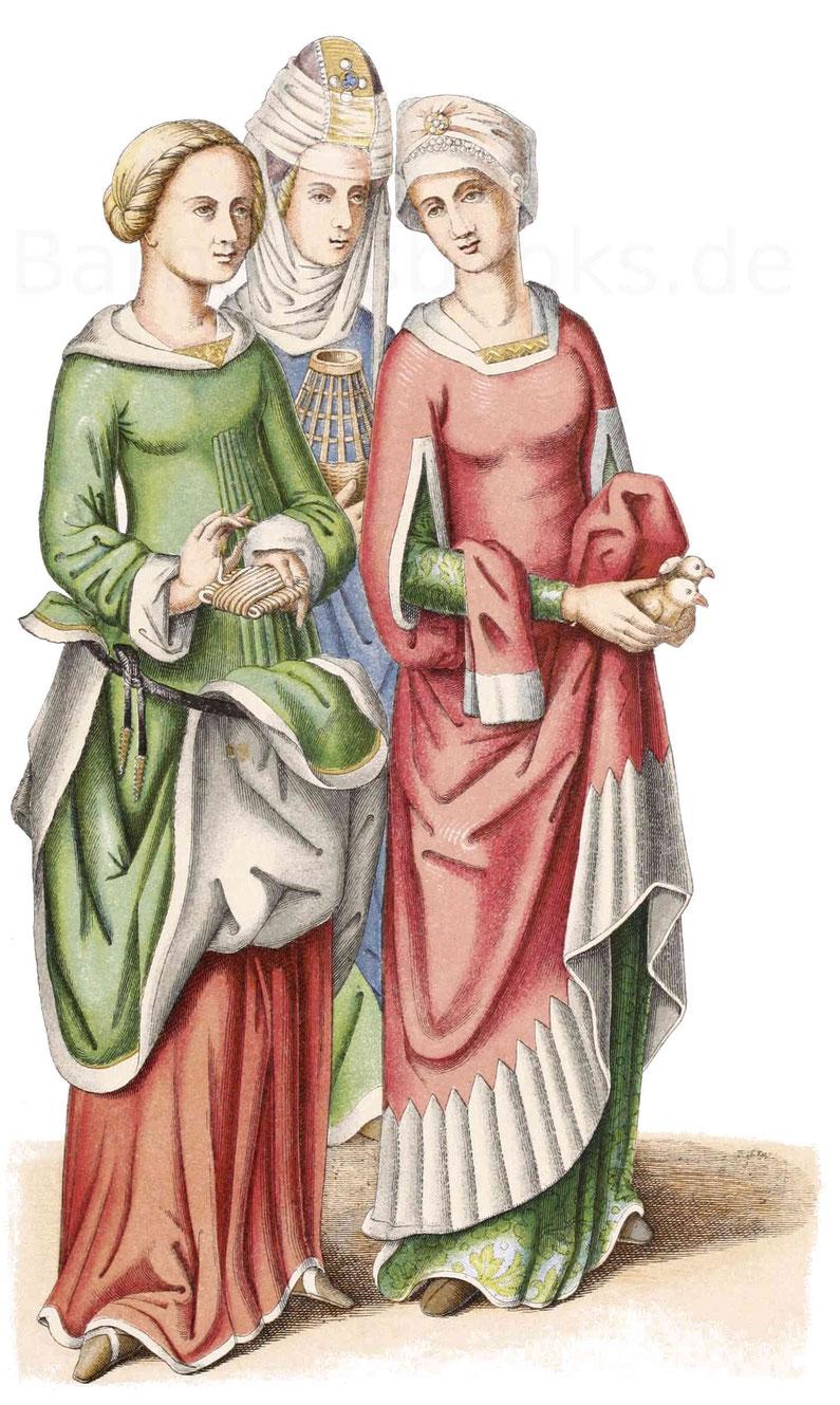 Frauentracht aus dem 15. Jahrhundert, aus den Gemälden der Türflügel, welche den Domschatz zu Aachen verschließen.