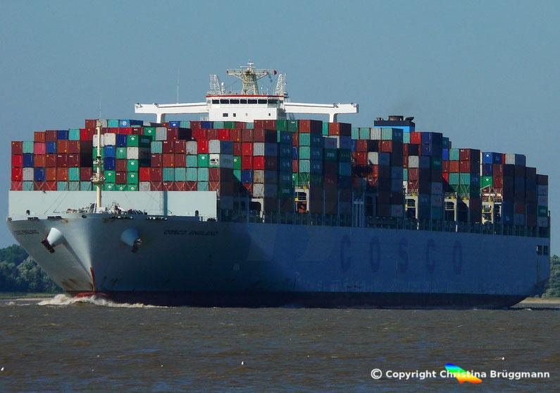 "Containerschiff ""COSCO ENGLAND"" bei Kollmar 15.09.2016"