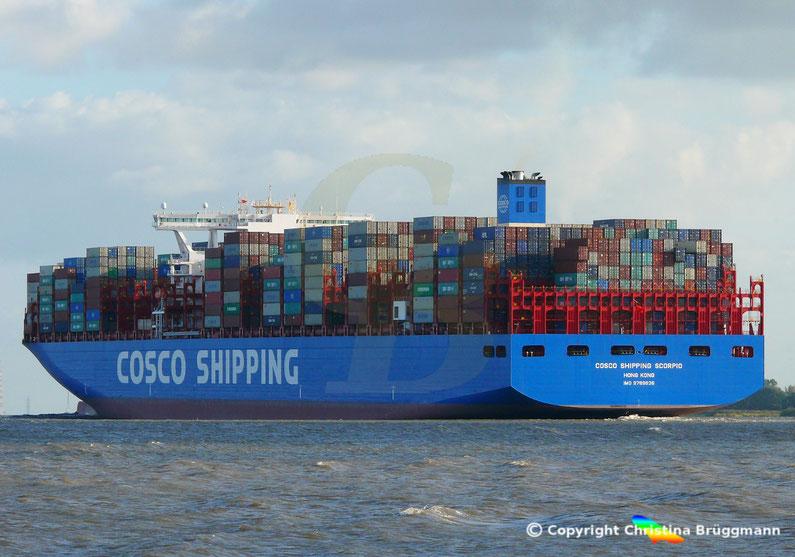 """COSCO SHIPPING SCORPIO"" auf der Elbe, 28.09.2018"