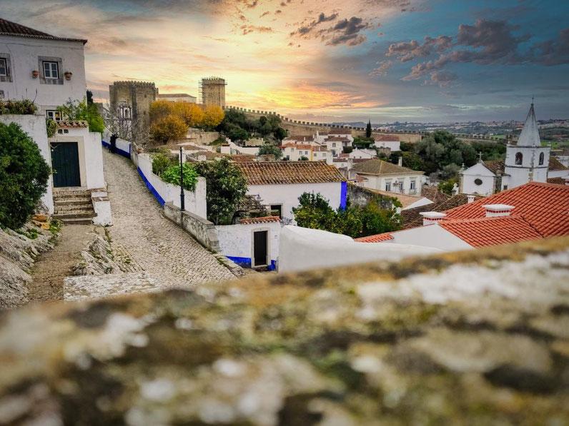 Blick über Obidos in Portugal