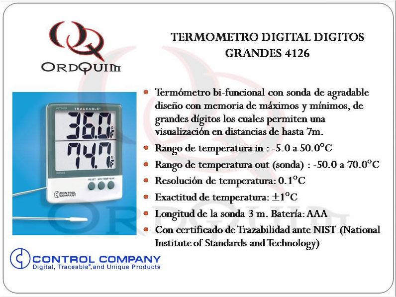 TERMÓMETRO DIGITAL GRANDES DIGITOS CONTROL COMPANY MOD. 4126