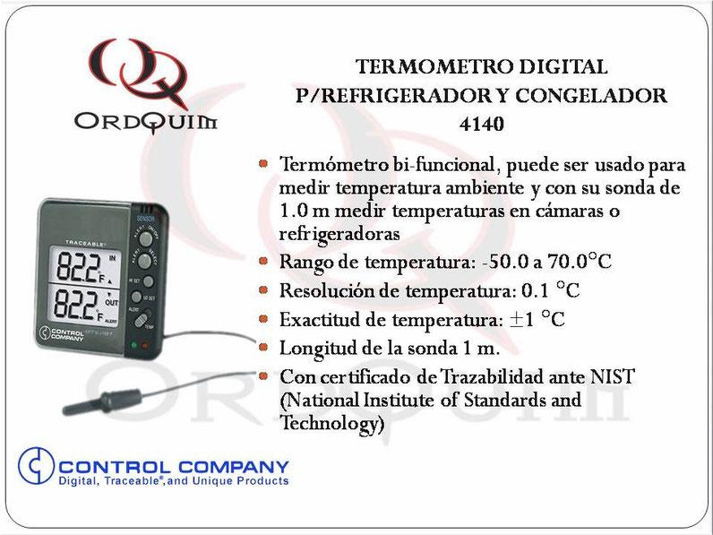 TERMÓMETRO DIGITAL PARA REFRIGERADOR Y CONGELADOR CONTROL COMPANY MOD.4140