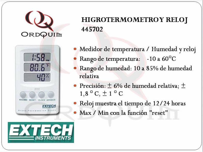 TERMÓMETRO, HIGRÓMETRO Y RELOJ EXTECH 445702