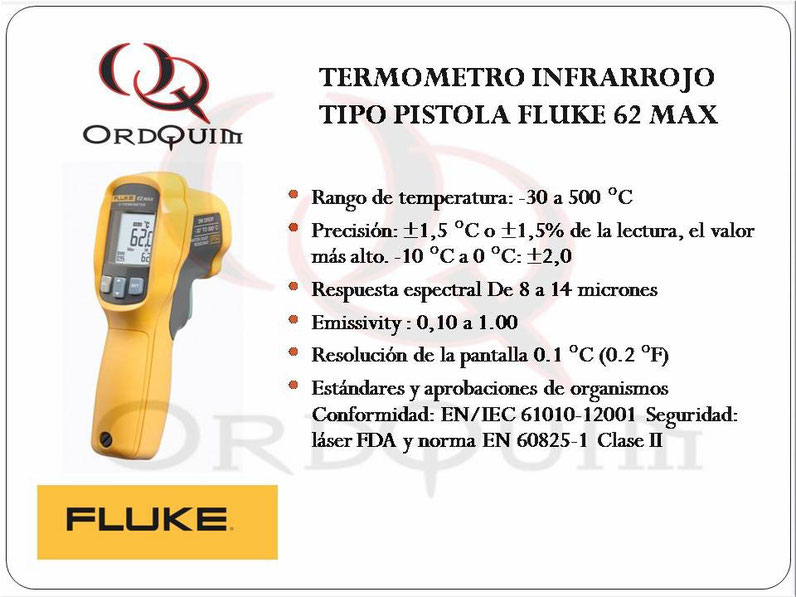 TERMÓMETRO INFRARROJO TIPO PISTOLA FLUKE 62 MAX