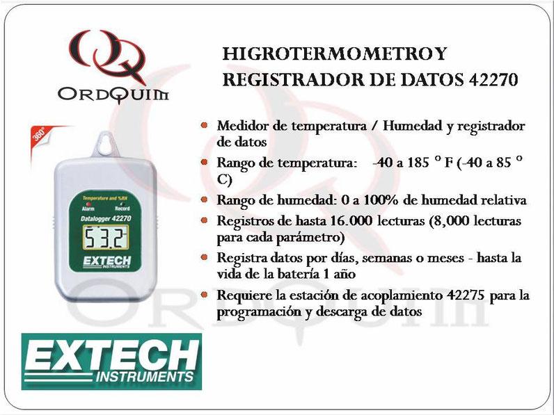 TERMÓMETRO, HIGRÓMETRO Y REGISTRADOR DE DATOS EXTECH MOD. 42270