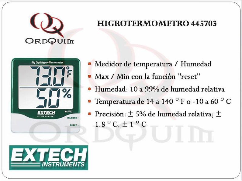 TERMÓMETRO, HIGRÓMETRO EXTECH MOD. 445703