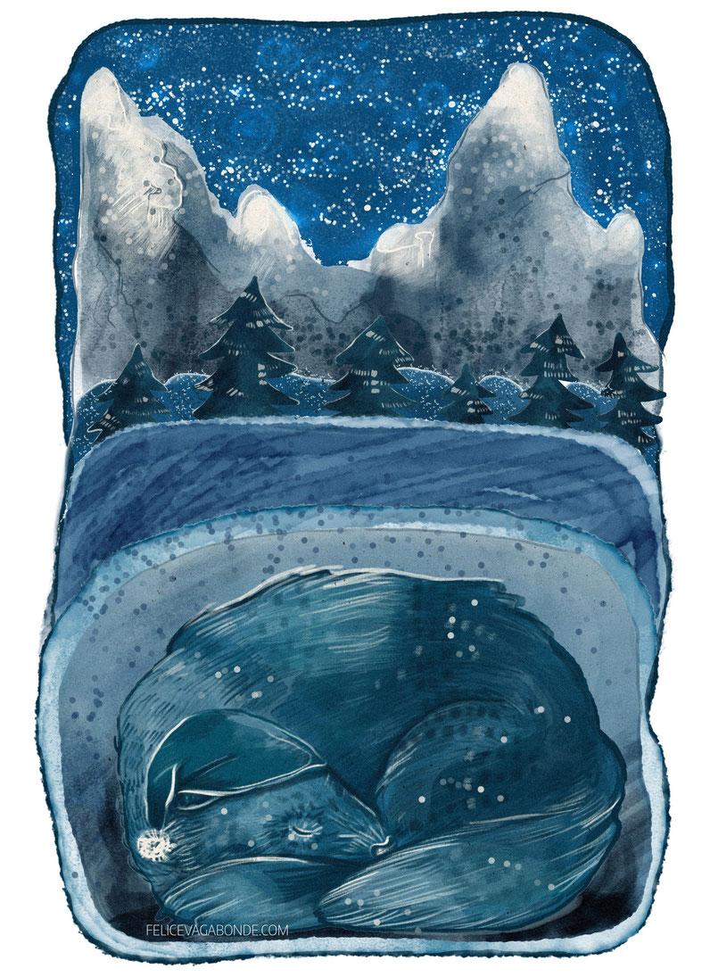 "Kinderbuch Illustration ""Winderschlaf"", Felice Vagabonde, Illustratorin aus Hamburg"