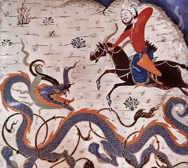 Eroe che uccide un dragone, miniatura persiana (1370)