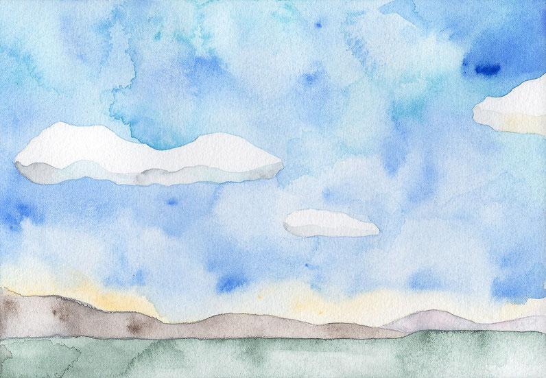 水彩画「雲渡る」