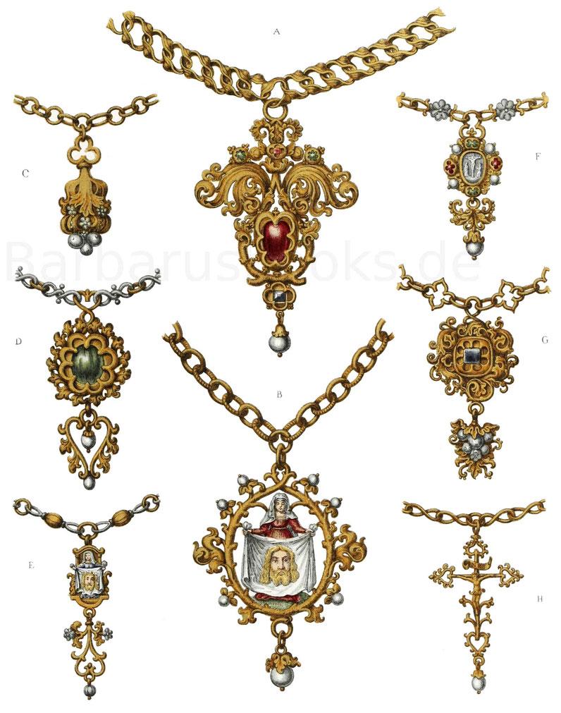 Schmuckgegenstände aus der ersten Hälfte des 16. Jahrhunderts.