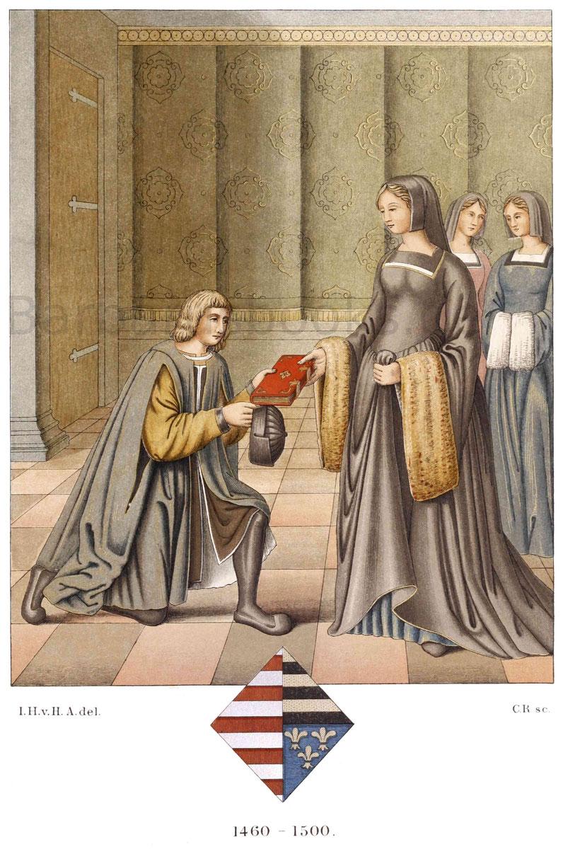 Französische Tracht aus der zweiten Hälfte des 15. Jahrhunderts.