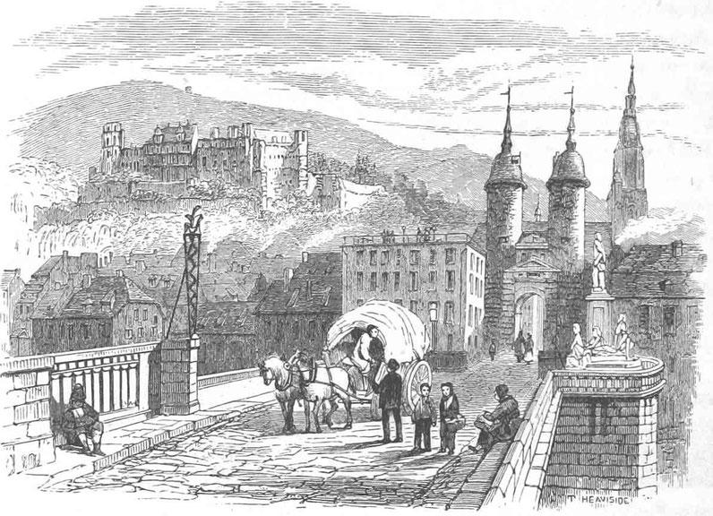 Historische Ansicht der Stadt Heidelberg Deutschland des 19. Jahrhunderts