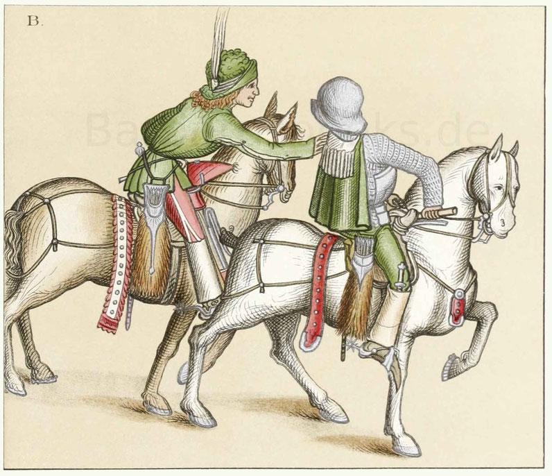 Trachten verschiedener Stände aus der zweiten Hälfte des 15. Jahrhunderts.