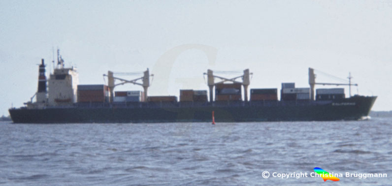 Mehrzweckcontainerschiff CALIFORNIA, Elbe 1983