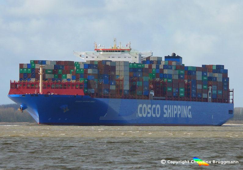 Containerschiff COSCO SHIPPING DENALI, Erstanlauf Hamburg, 19.03.2019