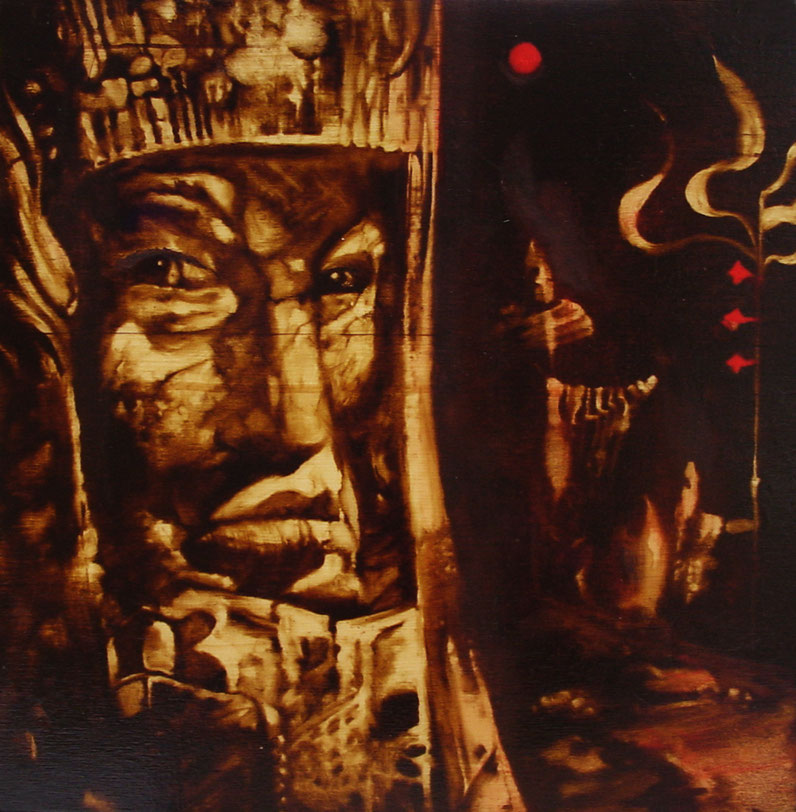 """""""I pensieri di Amleto"""" (2009) olio su legno, cm (30 x 29,7) tratto da un disegno di Sergio Toppi"""