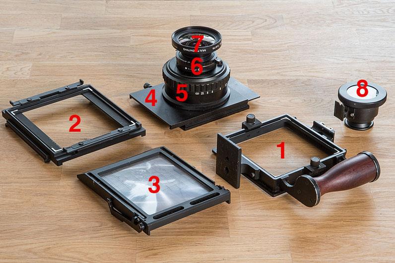 Die Baugruppen der GAOERSI 4x5 Großformatkamera, mit nummerierten Modulen. Foto: bonnescape.de
