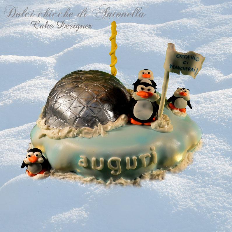 torta pinguini- antartide- dolci-la spezia-liguria-torte decorate-compleanni