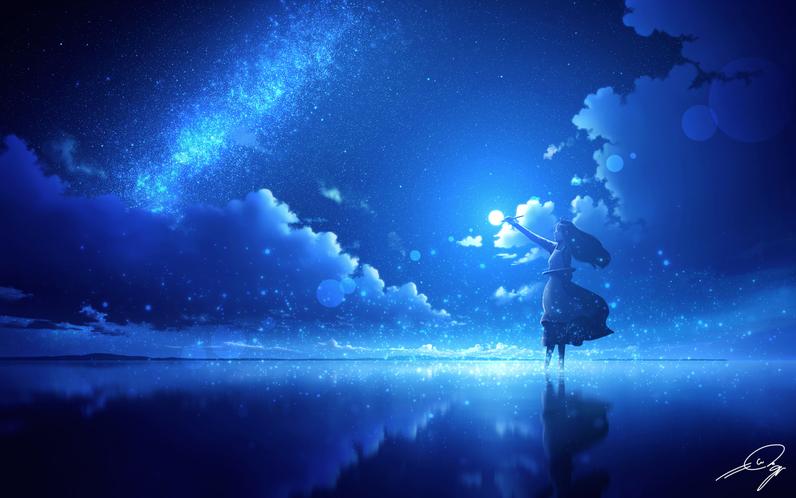 絵筆を持った女性が月夜に佇んでいるイラストです。