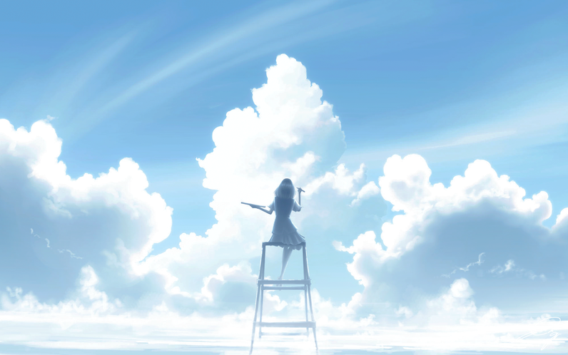 絵筆を持った少女が,脚立に座って青空に向かっているイラストです。