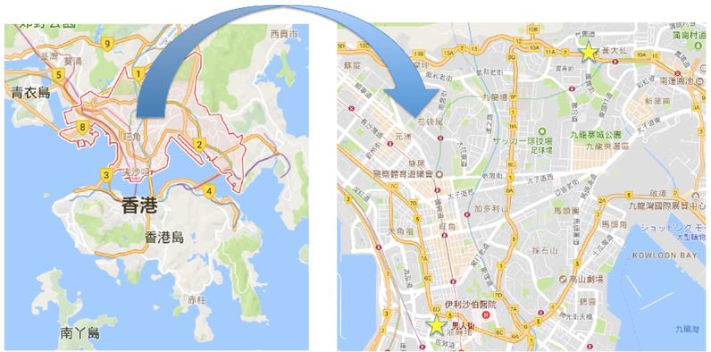 香港九龍地図